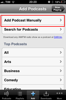 Add Podcast Manually